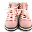 Woman pink hiking boots front view — Stock Photo