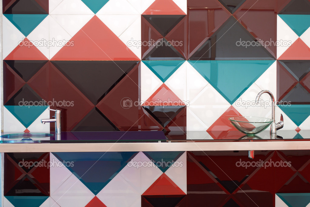 Kitchen with colorful tiles wall — Stock Photo #4389522