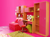 Children pink room — Stock Photo