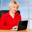 Beauty woman with laptop — Stock Photo
