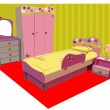 Stock Vector: Colorful children room vector illustration
