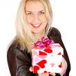 Stock Photo: Beautiful woman with gift for valentine