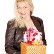 Beautiful woman with gifts for st.Valentines day — Stock Photo