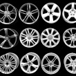 Car wheel aluminum rims isolated on black — Stock Photo #4721124