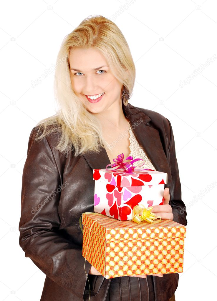 Beautiful woman with gifts for st.Valentines day — Stock Photo #4721093