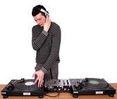 Dj with headphones play music — Stock Photo