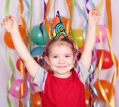 Happy little girl birthday party — Stock Photo
