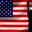 USA Flag with Lady Liberty — Stock Photo