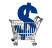 ショッピング カート ドル — ストック写真