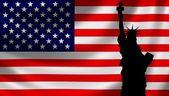 USA Flag with Lady Liberty — Stock Photo