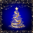 Sparkling golden christmas tree - Stock Photo