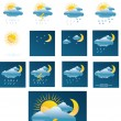 Vector weather forecast icons + All separate - Stok Vektör