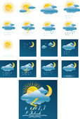 Vector weather forecast icons + All separate — Stock Vector