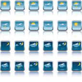Vector weather forecast buttons — Stock Vector