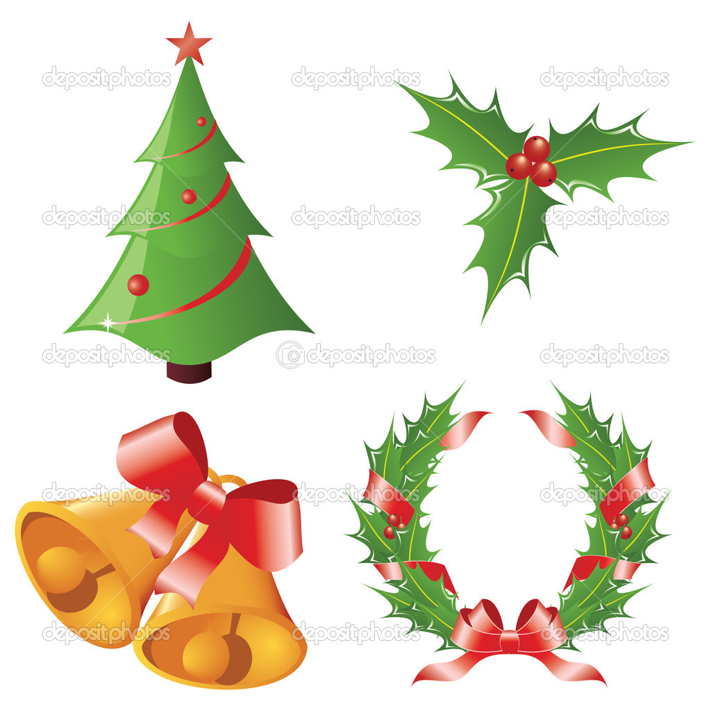 Christmas icons isolated against white.  Stock Vector #4119462
