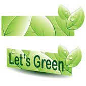Groene blad banner — Stockvector