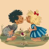 Boy and Girl Kissing — Stock Vector