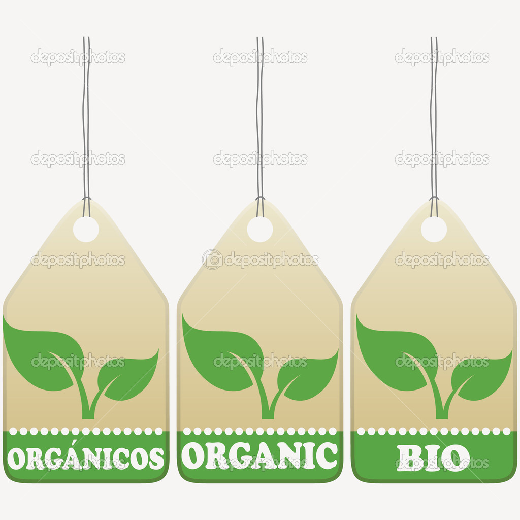 Organic tags isolated on white. English, Spanish, German inscribed.   Stock Vector #4588667