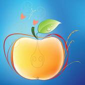 Apple et papillon — Vecteur