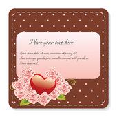 τριαντάφυλλα και καρδιά σημείωση — Διανυσματικό Αρχείο