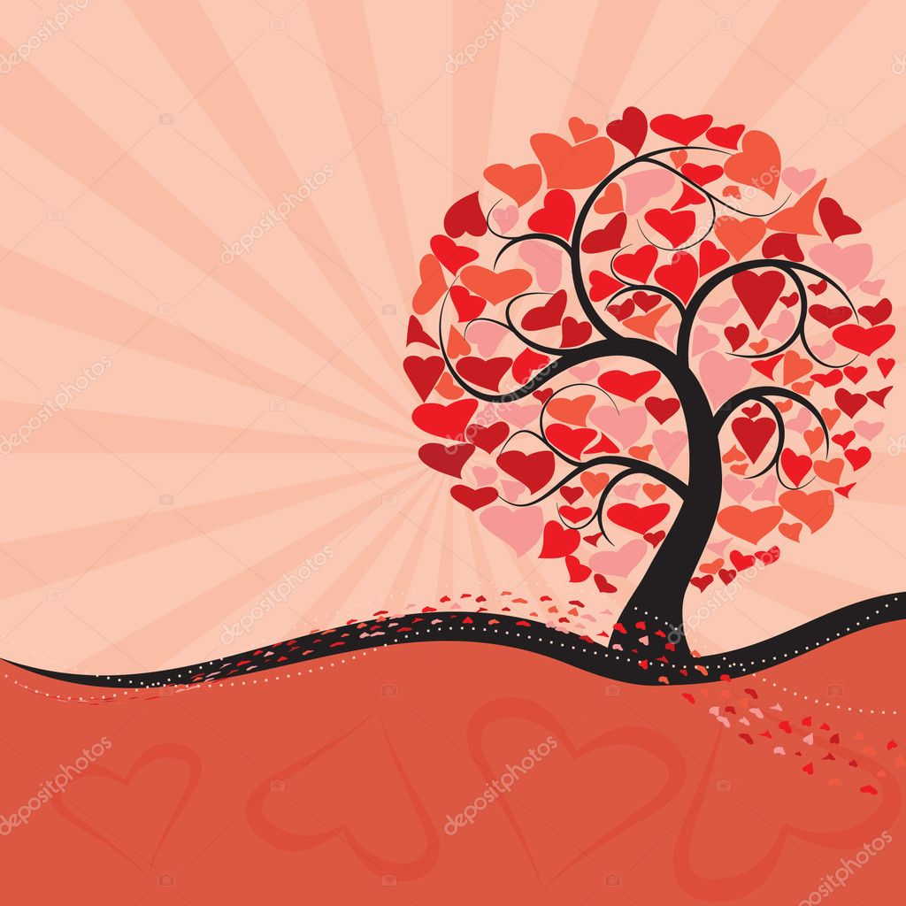 Valentine tree with rays background — Stock Vector #4742425