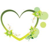 Yeşil kalp çerçeve — Stok Vektör