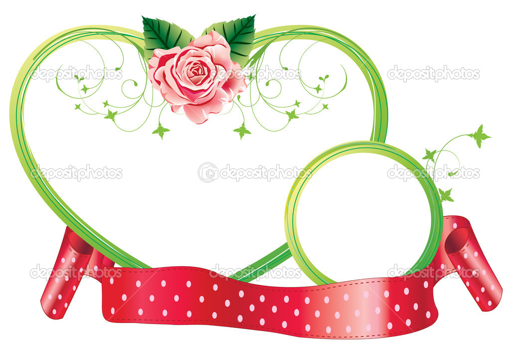 Two frames with flower and ribbon — Stock Vector #4804778