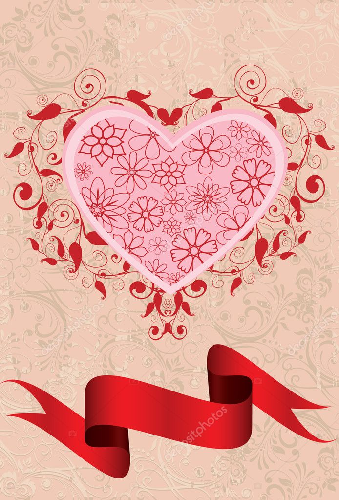Abstract swirl heart with ribbon  Grafika wektorowa #4804833
