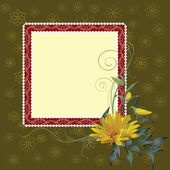 Square frame with flower — Stock Vector