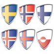 North Europe flags — Vettoriali Stock