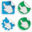 Hand Cursor Stickers — Stock Vector