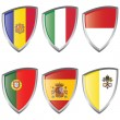 Stock Vector: West 1 Europe Shield Flags