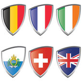 West 2 Europe Shield Flags — Stock Vector