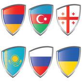 East 1 Europe Shield Flag — Stock Vector