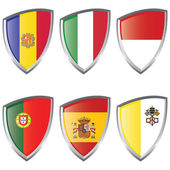 West 1 Europe Shield Flags — Stock Vector