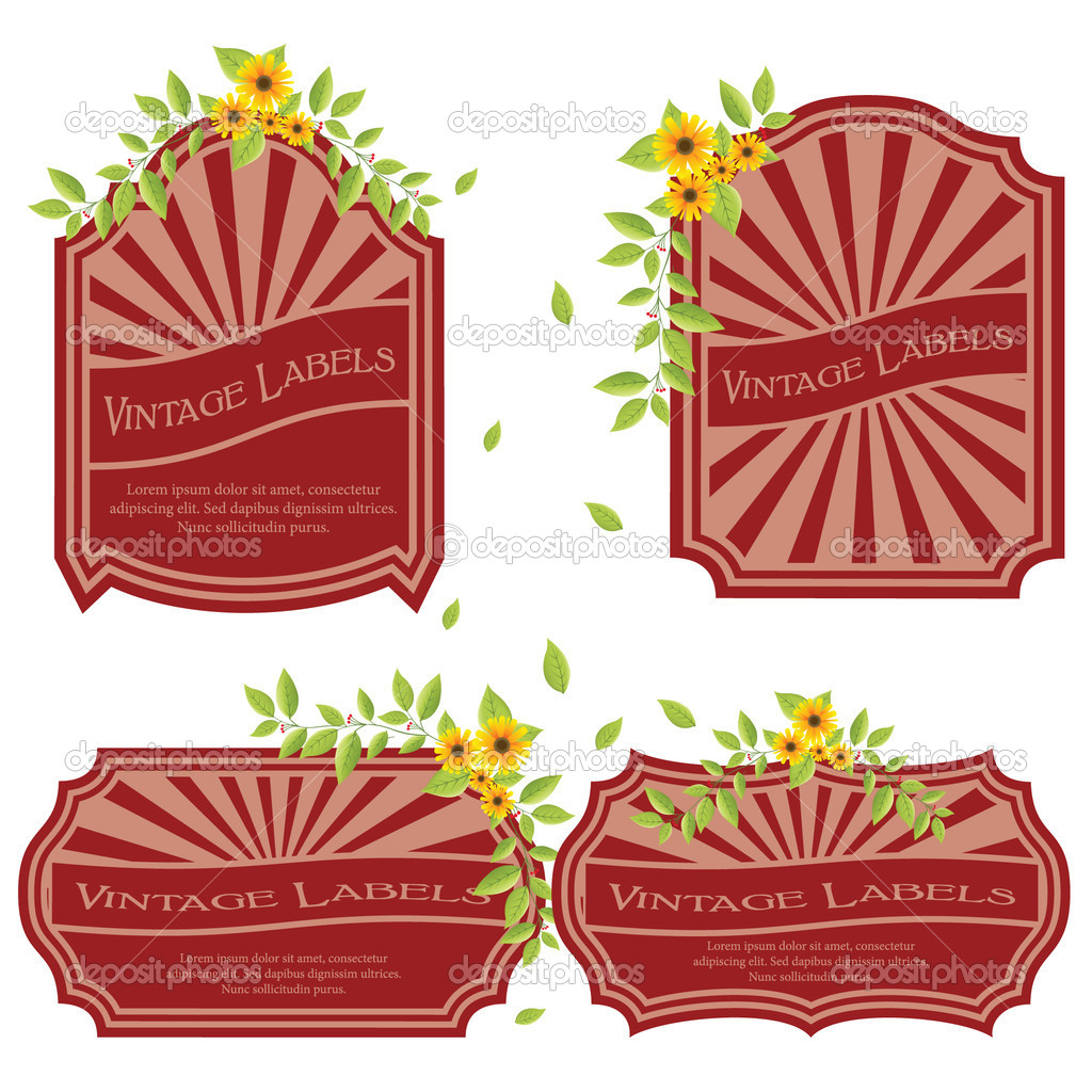 Vintage labels with flowers isolated on white — Stock Vector #5115302