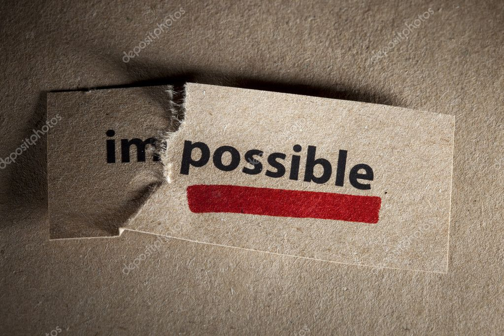 Word impossible transformed into possible. Motivation philosophy concept — Foto Stock #3982770