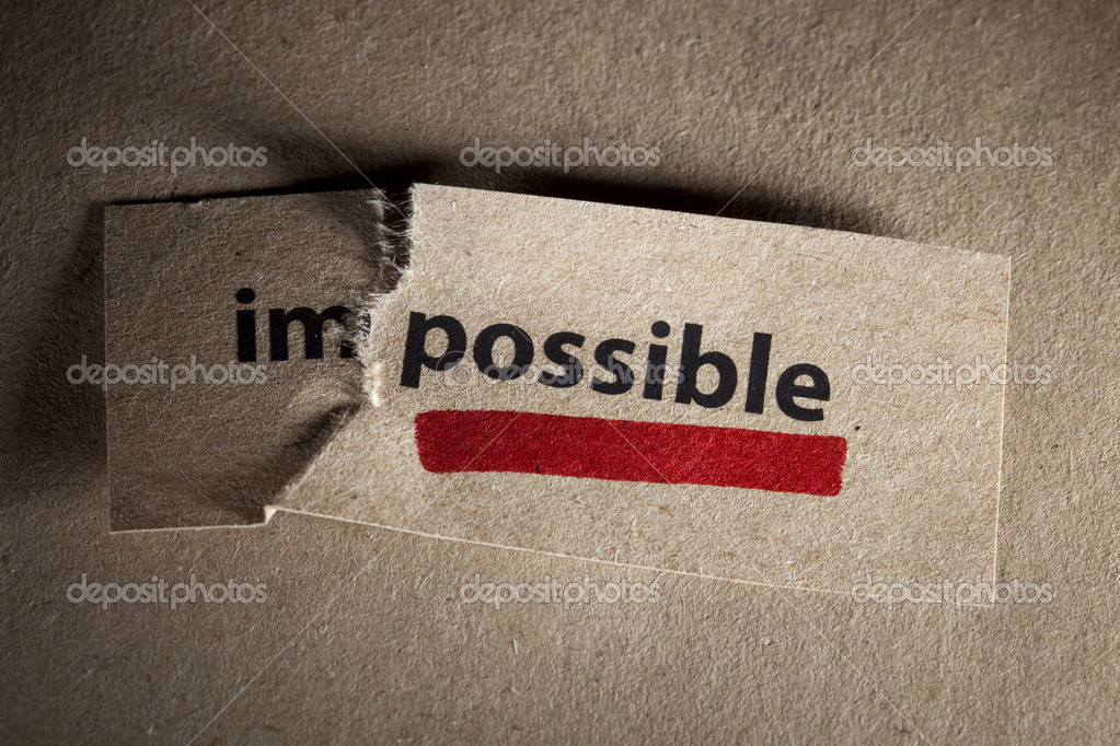 Word impossible transformed into possible. Motivation philosophy concept — Stock fotografie #3982770