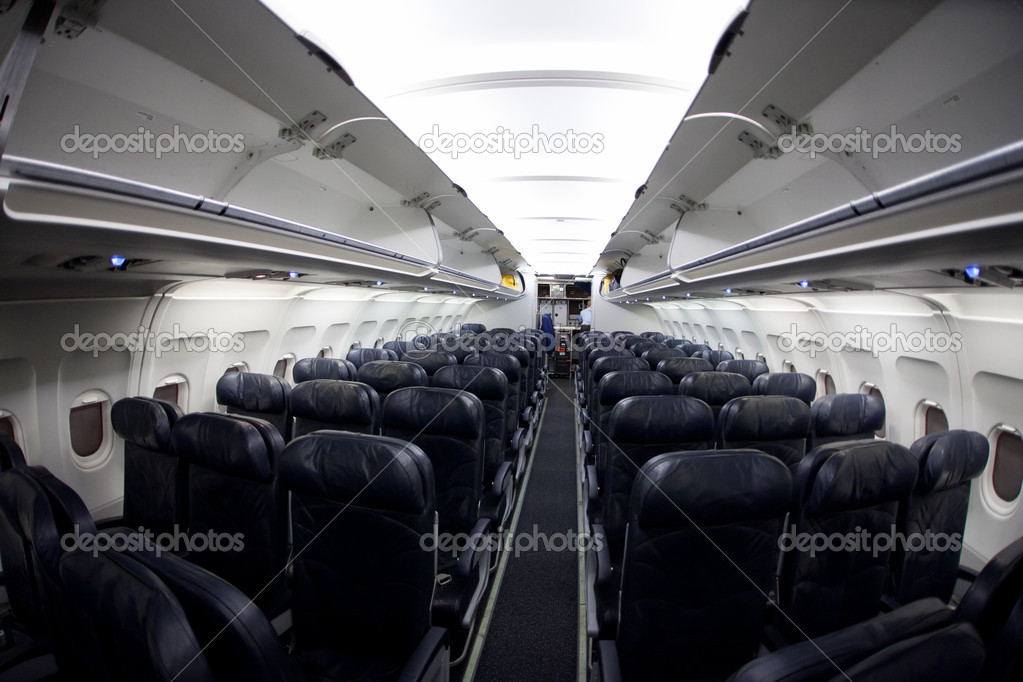Empty airplaine interior. Shot with fisheye lens, same noise — Stock Photo #4056363