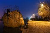 Amanhecer no rio sava, belgrado — Foto Stock