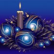 Christmas balls with tinsel and candle — Image vectorielle