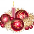 Christmas balls with tinsel and candle — Stock Vector