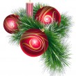 Royalty-Free Stock Vector Image: Christmas balls with tinsel and candle