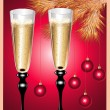 Royalty-Free Stock Vector Image: Champagne flutes and Christmas tree