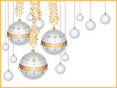Christmas balls with tinsel — Stockvector