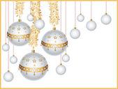 Julgranskulor med glitter — Stockvektor