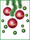 Christmas balls and a tinsel — Stock Vector