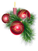 Christmas balls with tinsel and candle — Stockvector