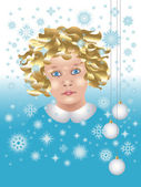 Baby with snowflakes and Christmas balls — Stock Vector