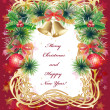 Royalty-Free Stock 矢量图片: Christmas greeting card with balls, bells and holly
